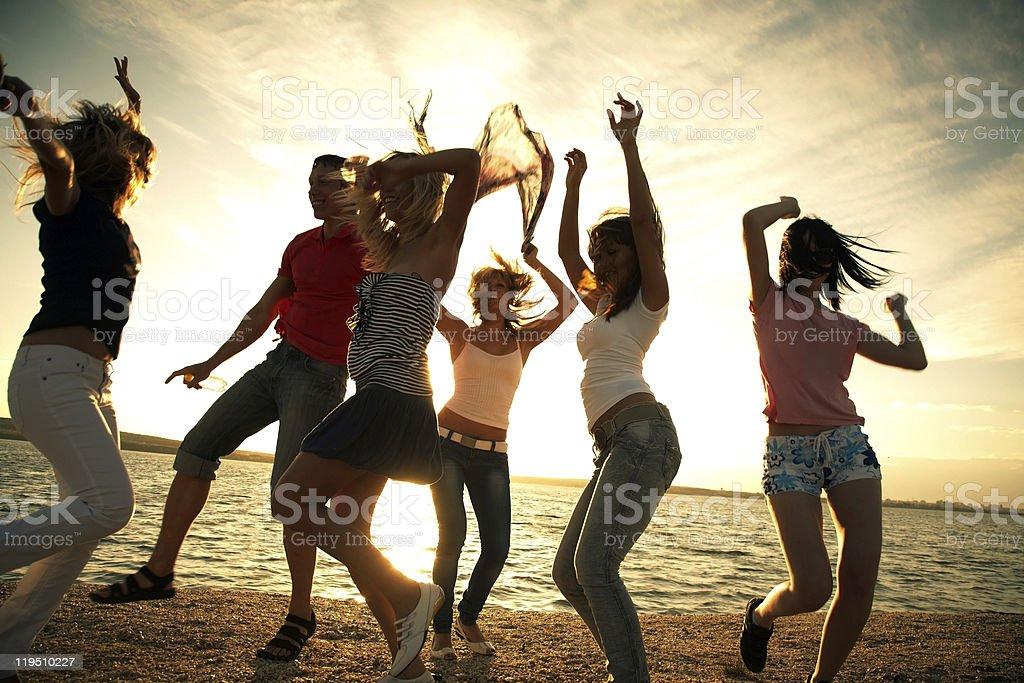 party on beach stock photo