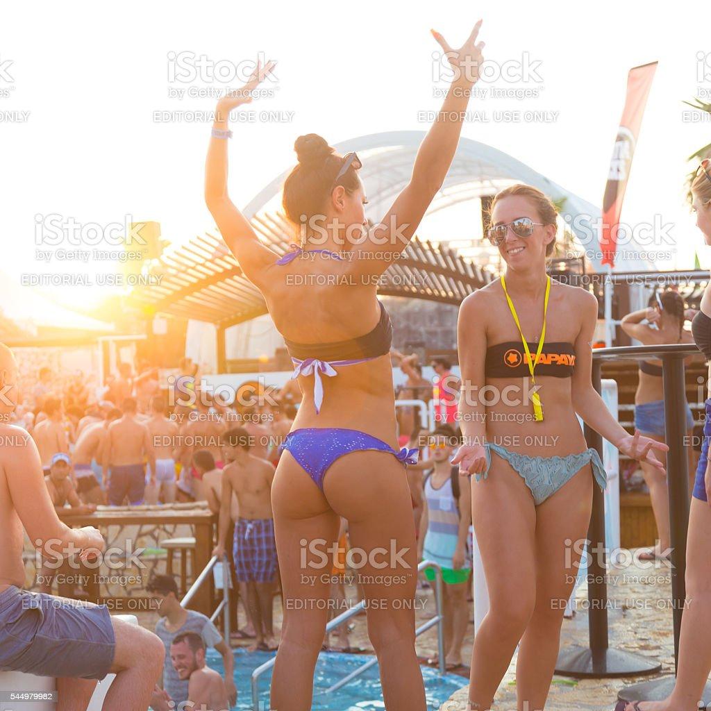 Party on Zrce beach, Novalja, Pag island, Croatia. stock photo