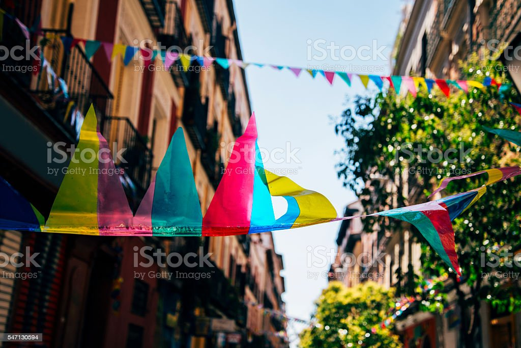 Party pennants in the street stock photo