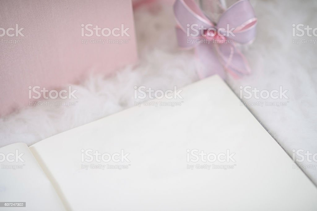 party registration book on white fur table stock photo