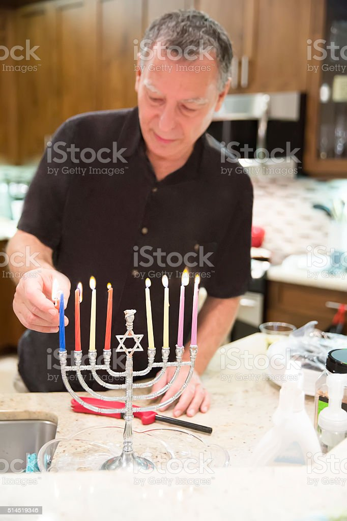 Party Series: Real situation behind the scenes of Hanukah party stock photo