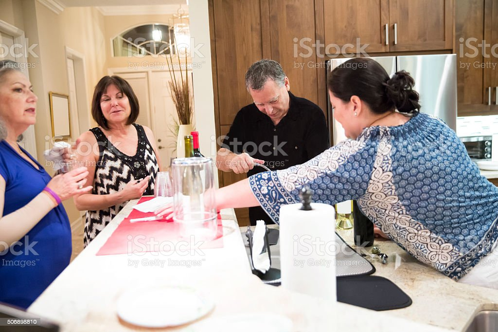 Party Series: Real situation behind the scenes of home party stock photo