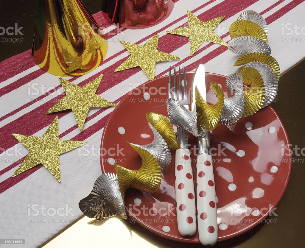 Party table in red, gold and white team club colors. royalty-free stock photo