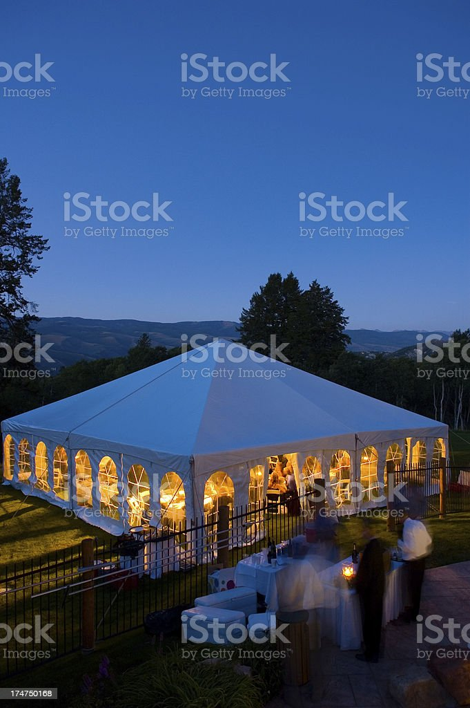 Party Tent with Blue Dusk Light stock photo