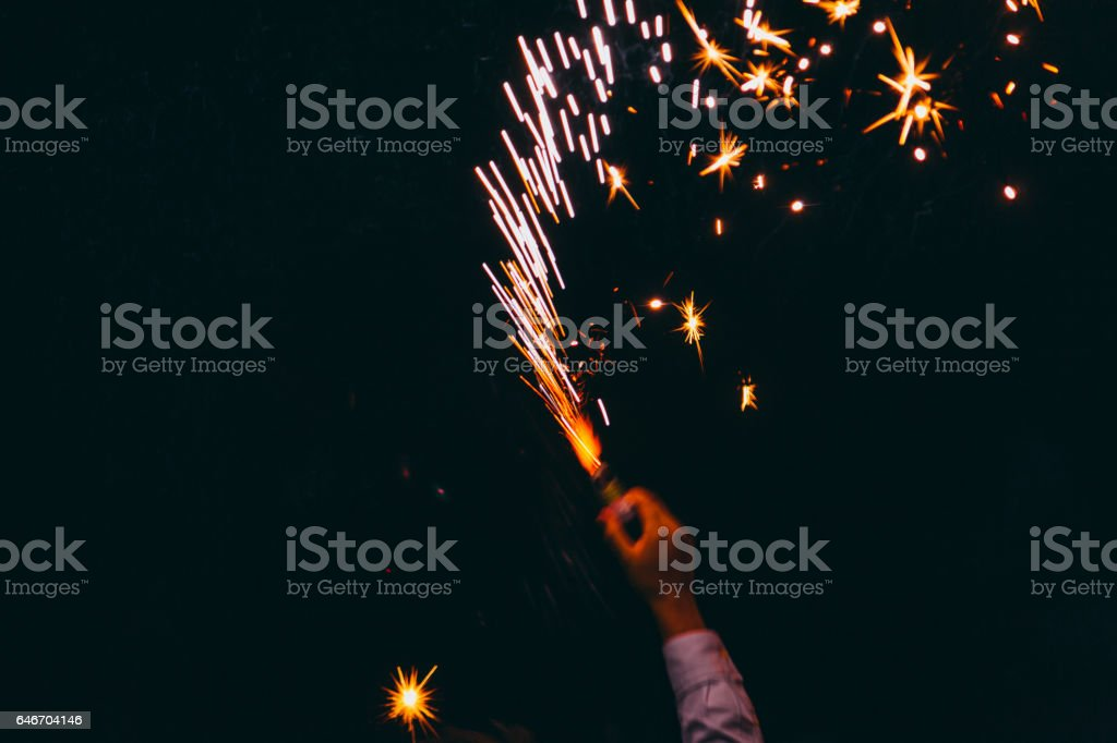 Party Time! - Big sparkler on dark vector art illustration