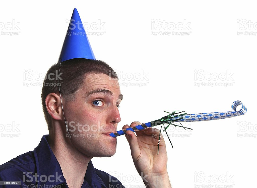Party time: Man with blower stock photo