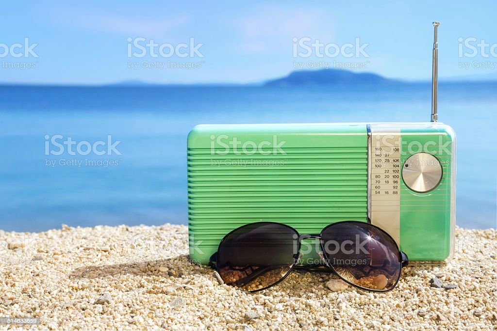 Party time on the beach stock photo