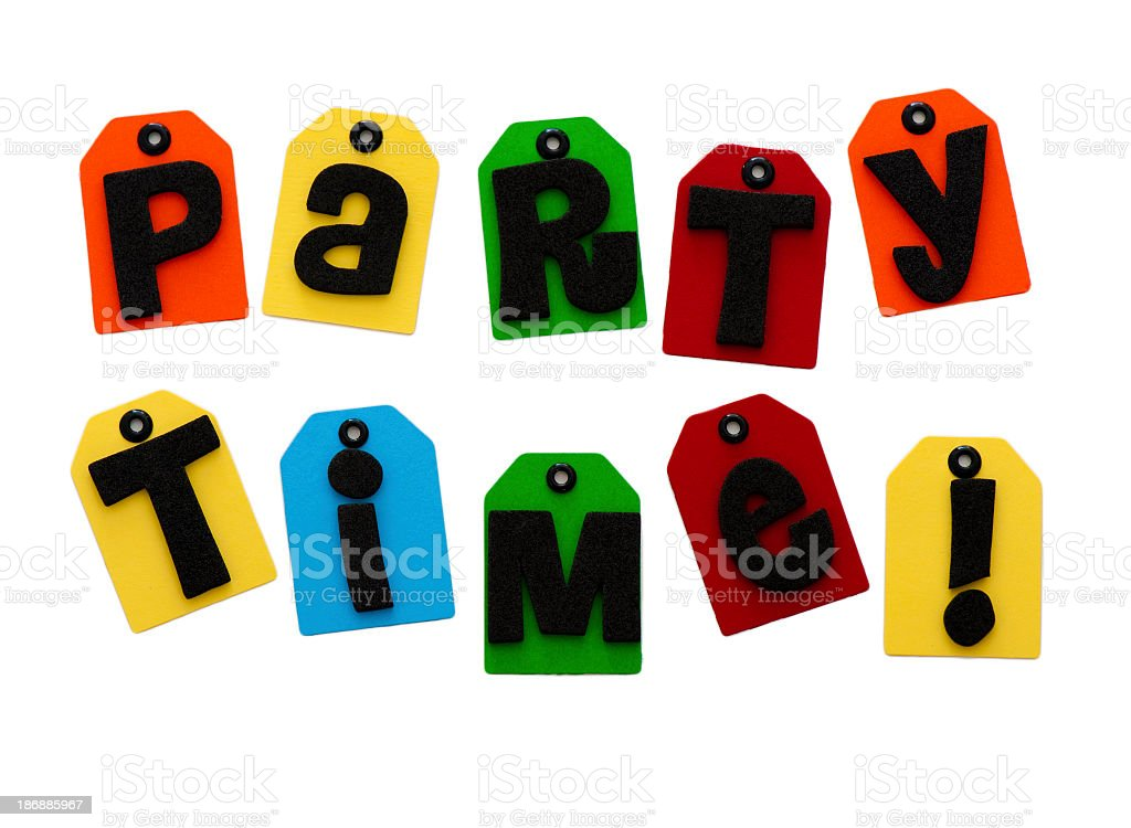 party time spelled out stock photo