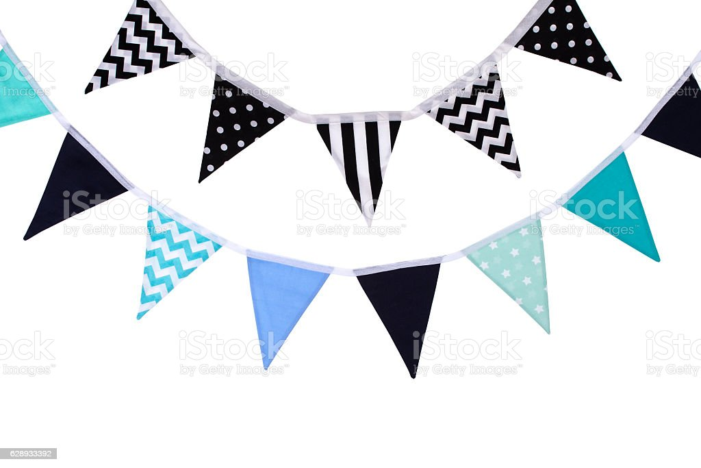 Party triangle bunting flags hanging on the rope. stock photo