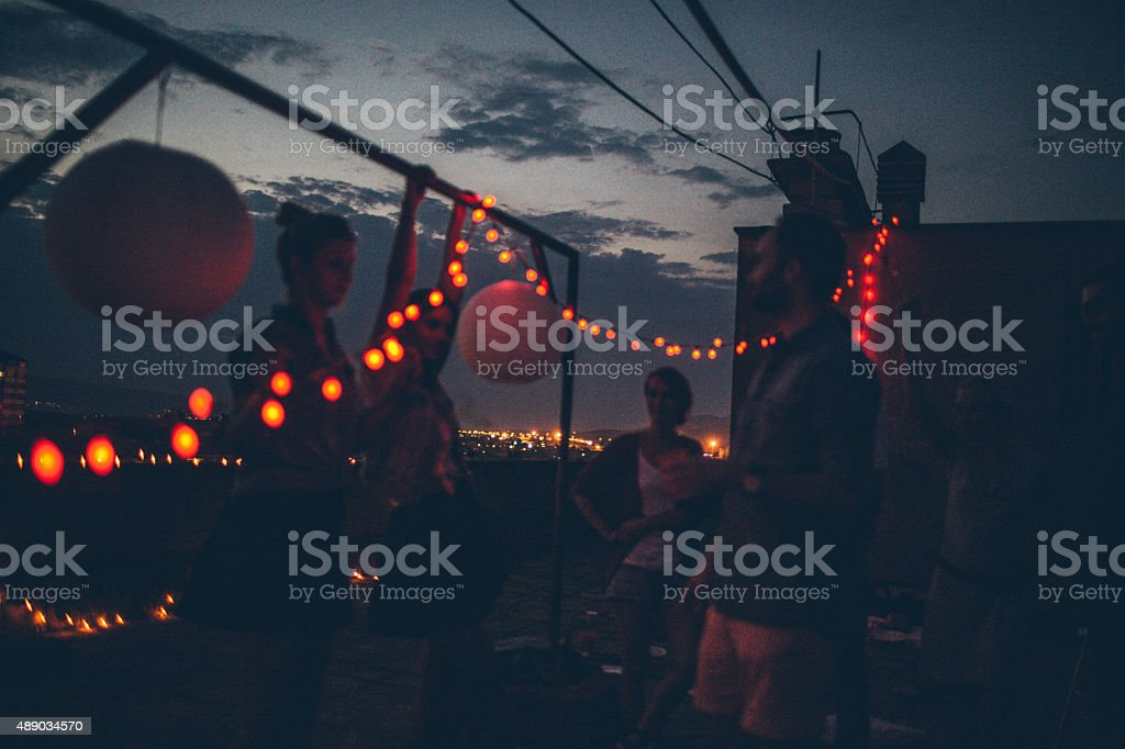 Party under the evening sky stock photo