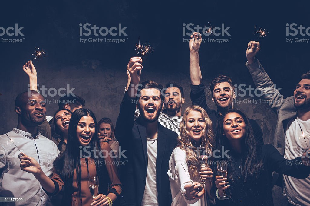 Party with friends. stock photo
