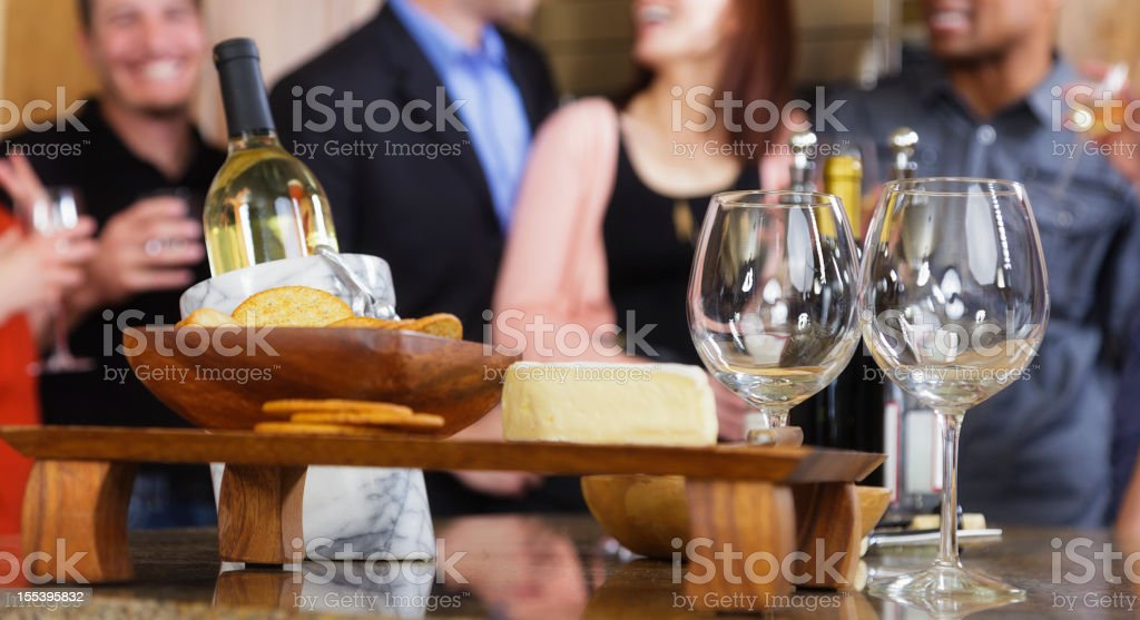 Party with wine and cheese stock photo