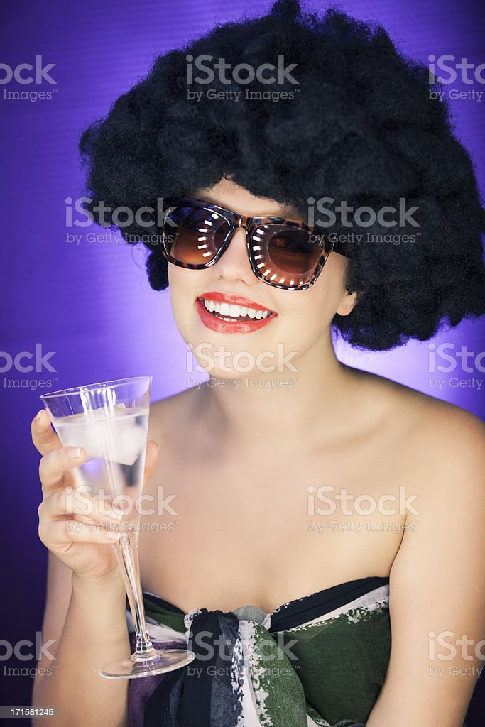 Party Woman With Afro Wig royalty-free stock photo
