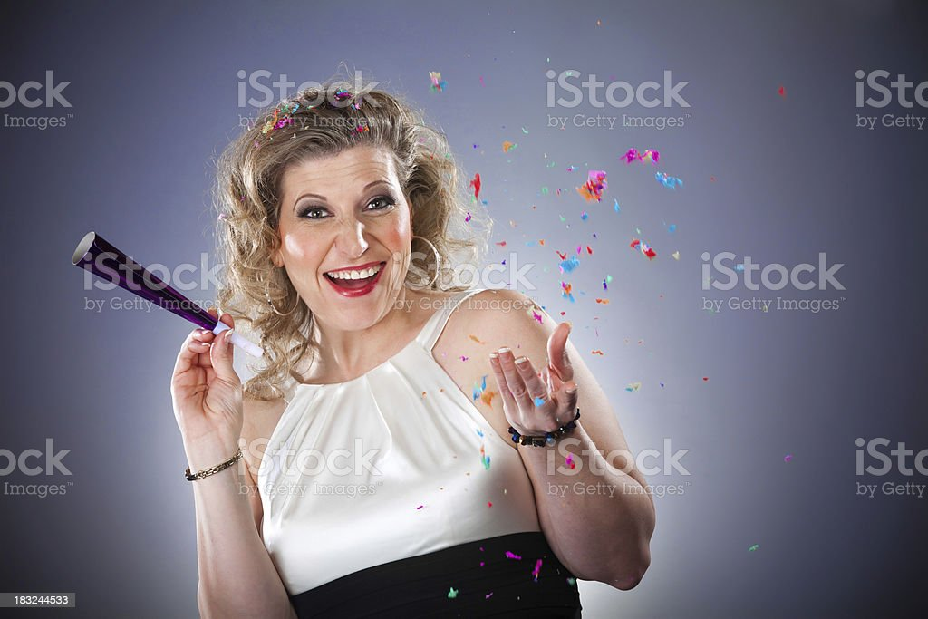 Party Woman With Confetti royalty-free stock photo