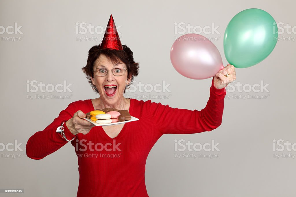 Party Woman with Snack royalty-free stock photo