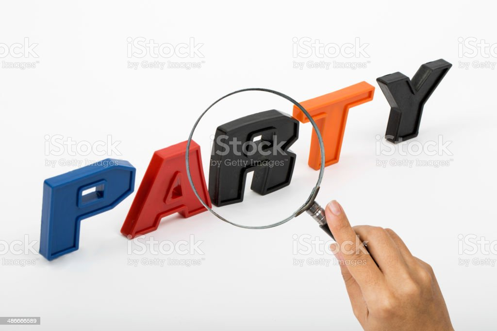 Party , Word with Magnifying Glass royalty-free stock photo