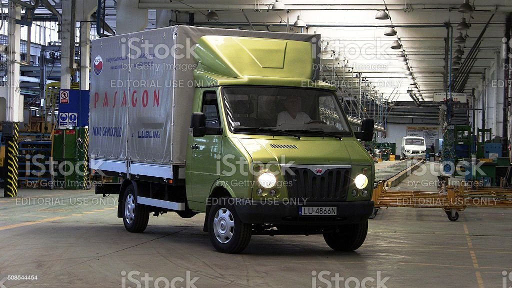 DZT Pasagon - Polish commercial vehicle in factory stock photo