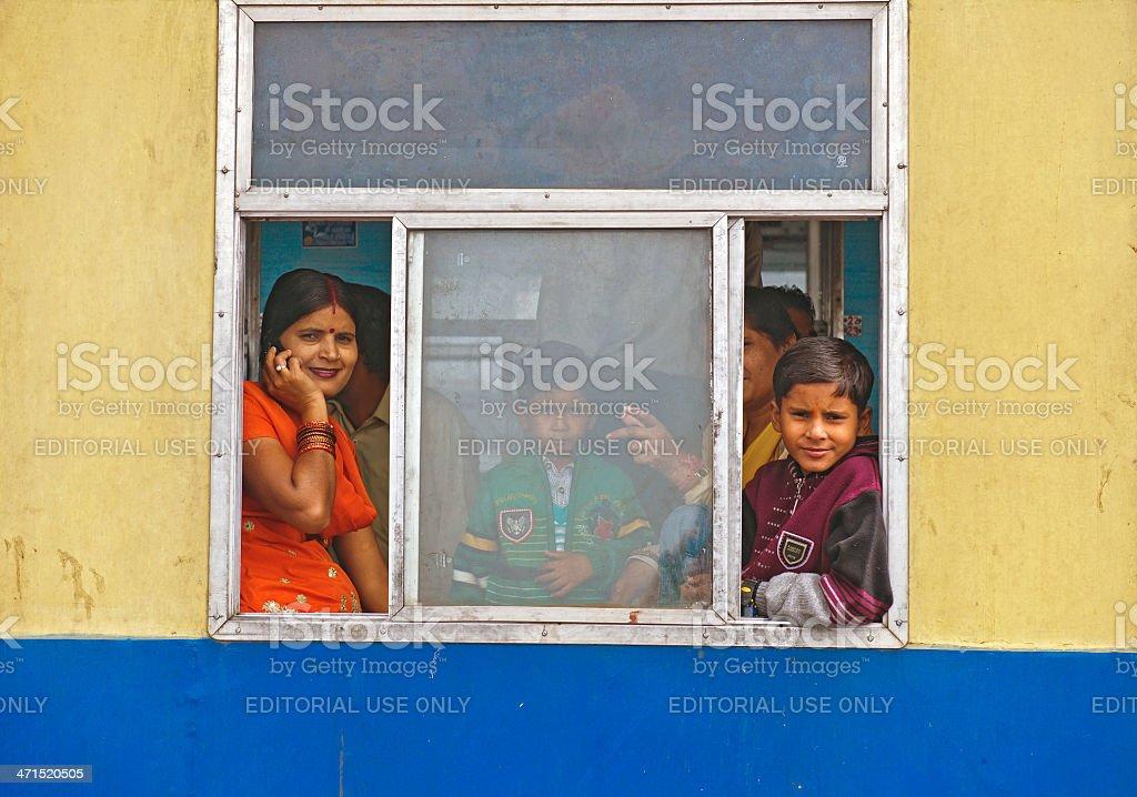 Pasengers on Old Mountain Train Shimla India royalty-free stock photo