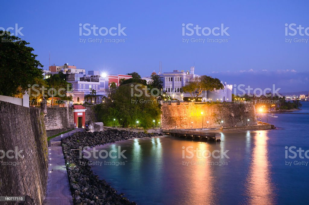 Paseo de la Princesa and City Gate in San Juan stock photo