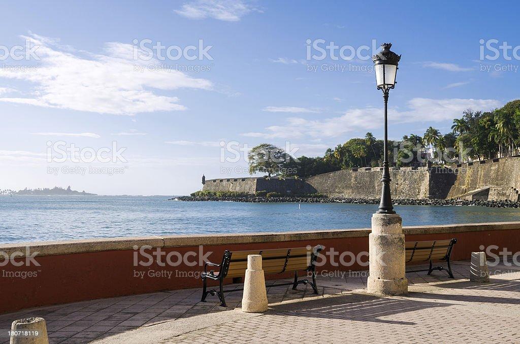 Paseo de la Princesa in Old San Juan, Puerto Rico royalty-free stock photo