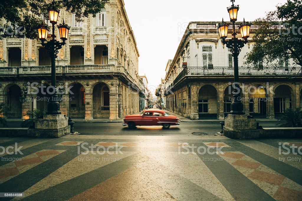 Paseo de Marti boulevard at dusk, Havana, Cuba stock photo
