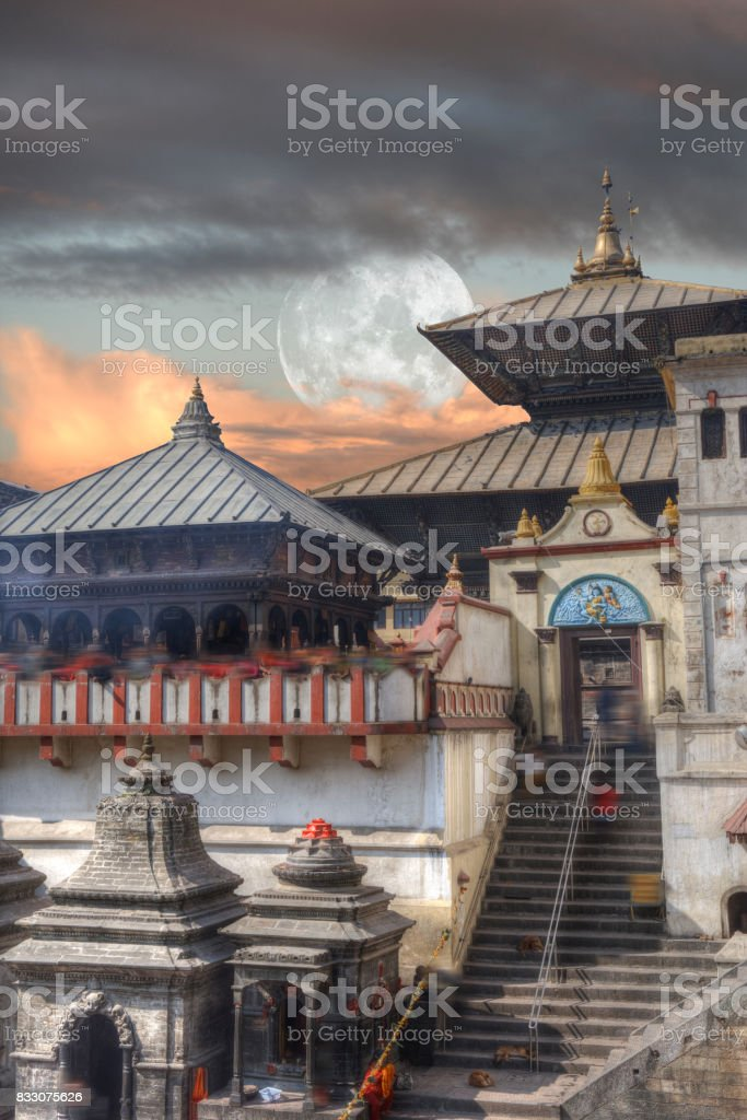Pashupatinath temple complex of Hinduism stock photo