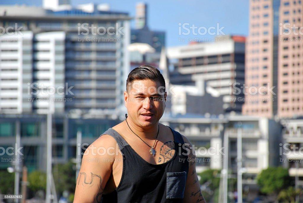 Pasifika Man against Urban Background stock photo