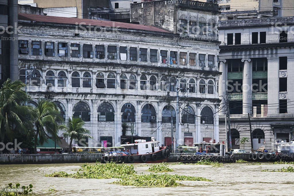 pasig river manila city historic buildings philippines royalty-free stock photo