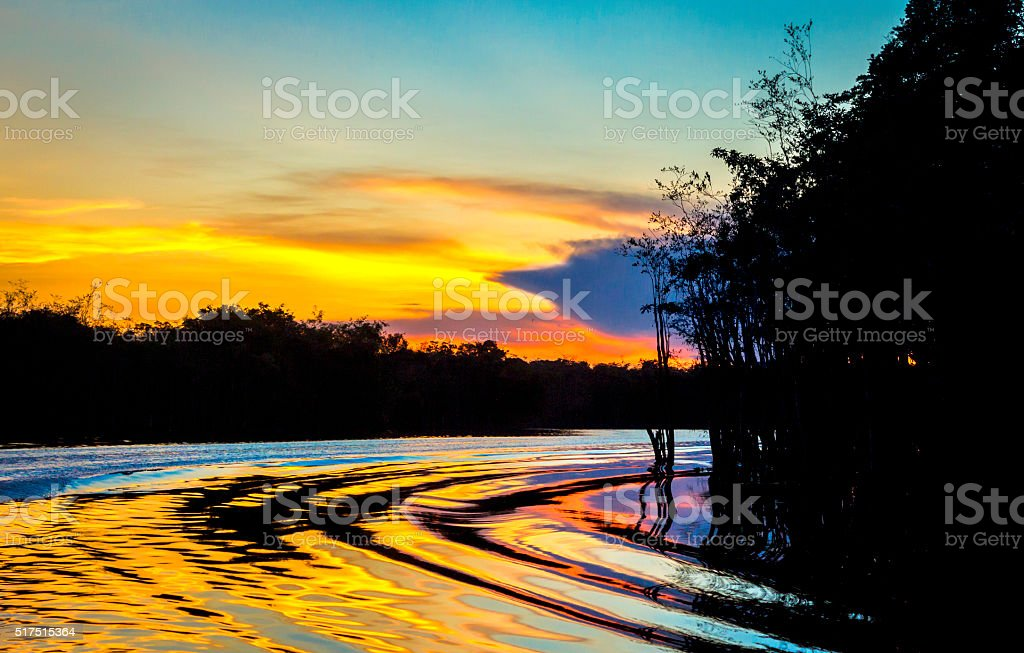 Pasiva river in the Amazon state Venezuela at sunset stock photo
