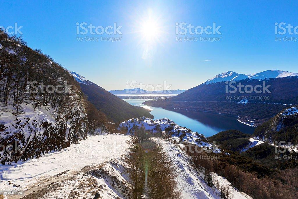 Paso Garibaldi with Lakes background at Ushuaia, Argentina stock photo