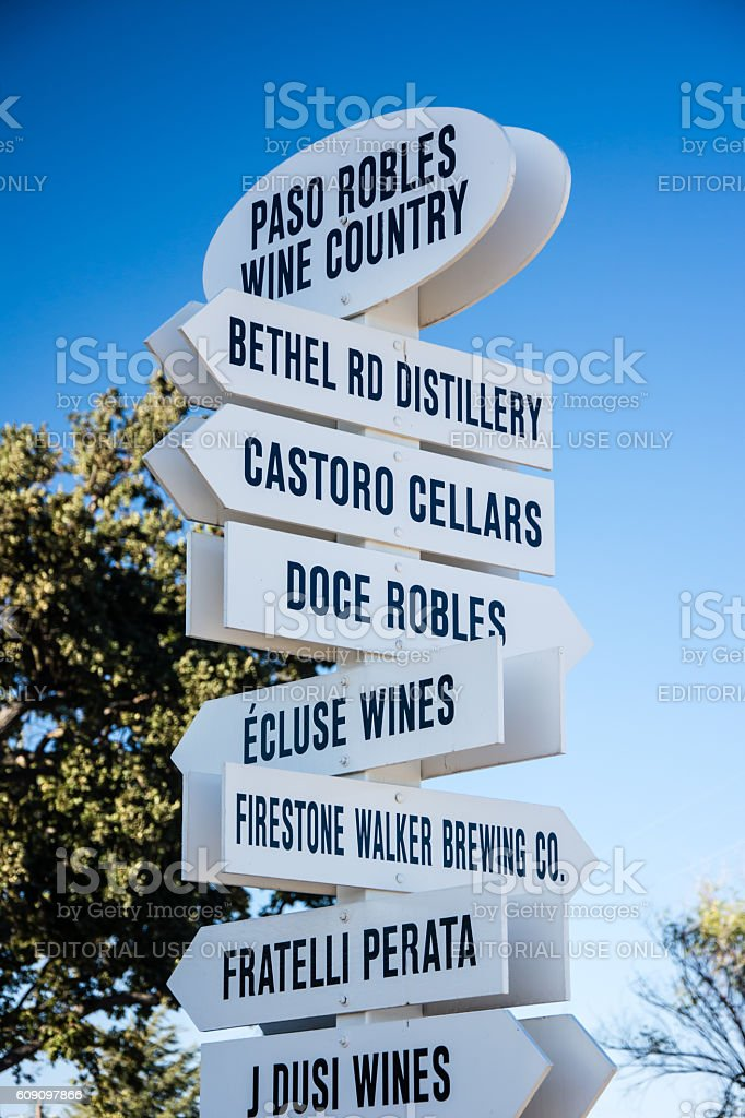 Paso Robles Wine Country Signpost stock photo