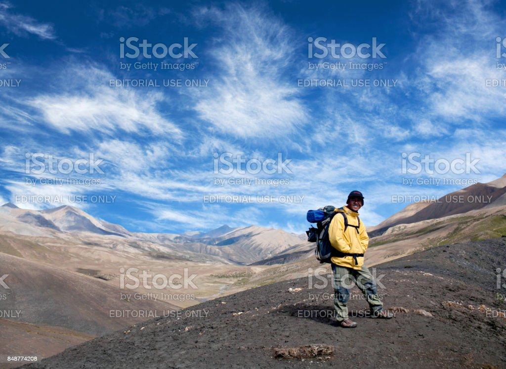 Pass in Dolpo, Shey Phoksundo National Park, Nepal, Himalayas stock photo