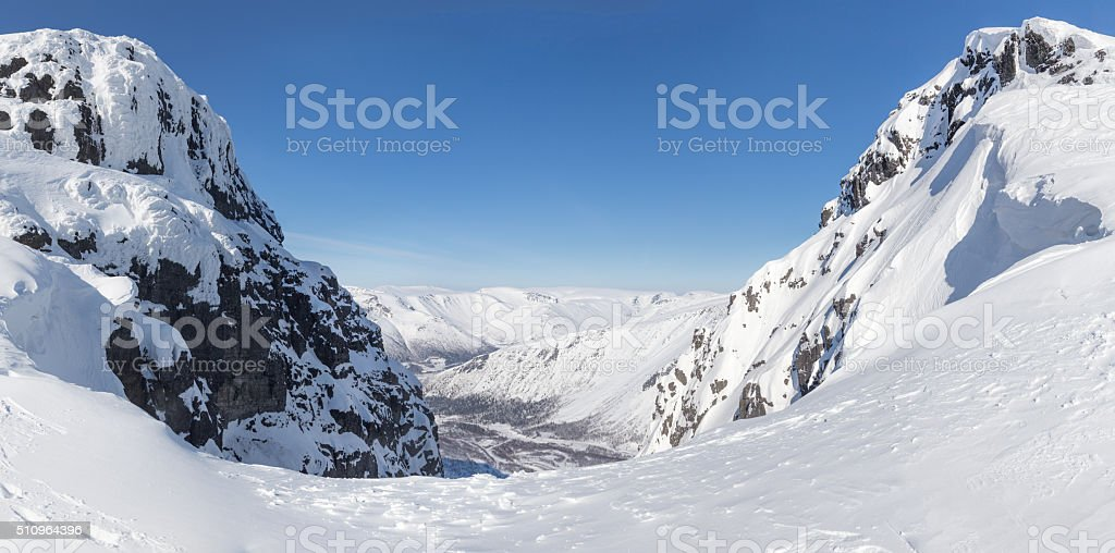 Pass in the northern mountains stock photo