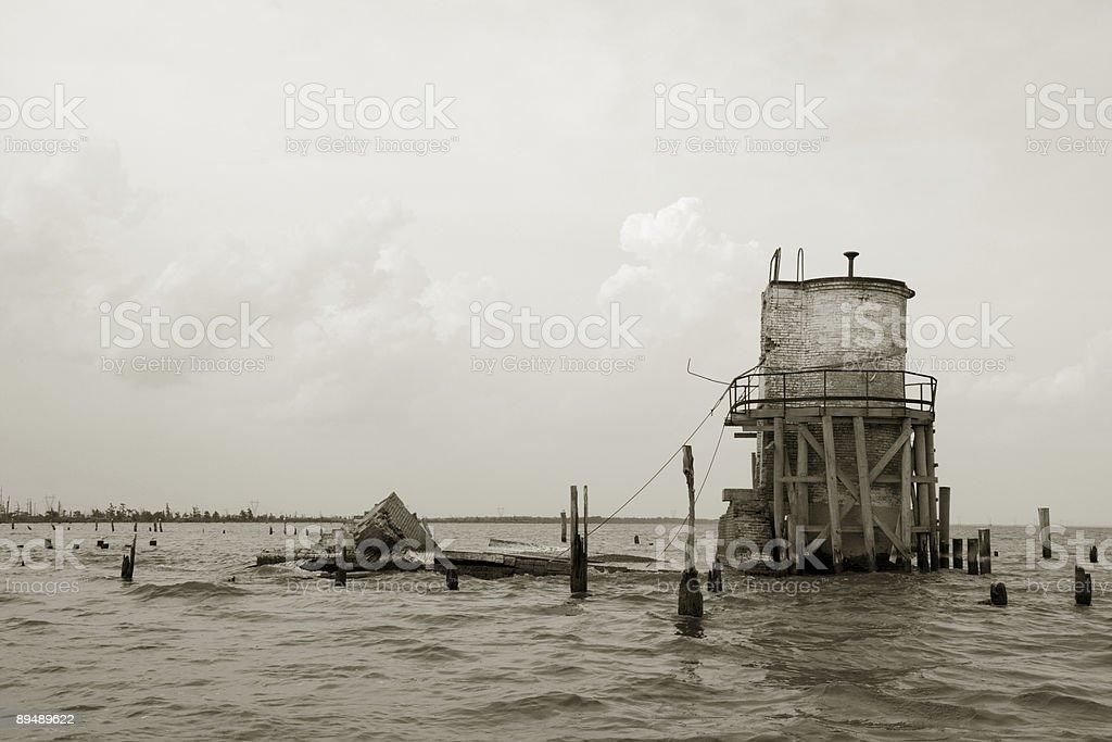 Pass Manchac Lighthouse Ruins, Louisiana royalty-free stock photo