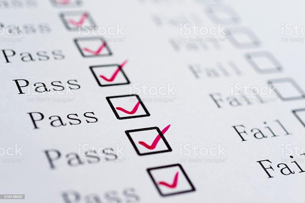 Pass or Fail stock photo