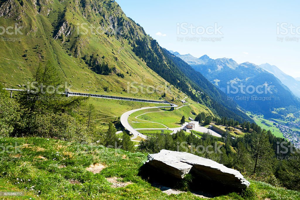 Pass road and tunnel gallery of t. Gotthard stock photo