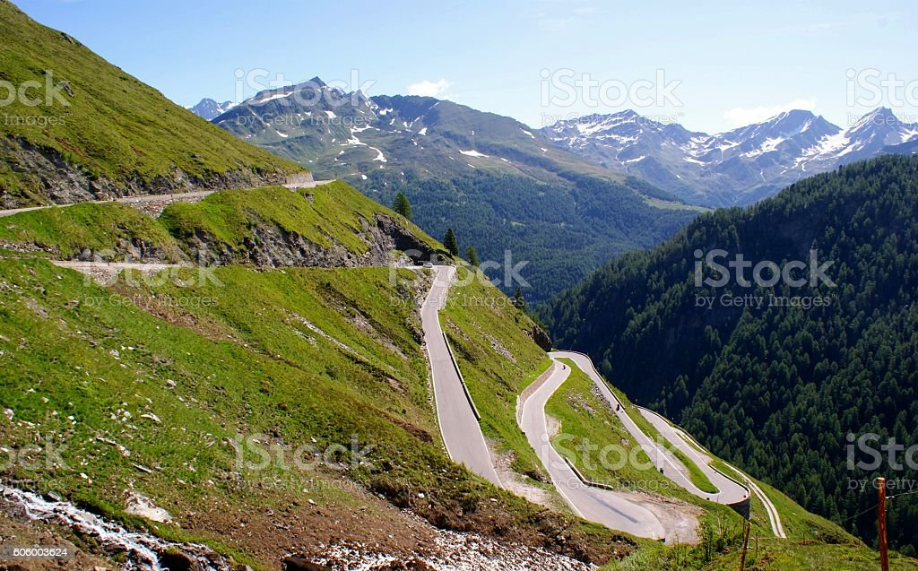 Pass road in South Tyrol, Italy stock photo
