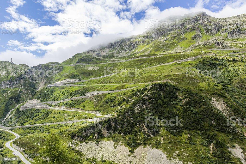 pass street in swiss alps stock photo