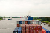 Passage of a container ship through the Kiel Canal