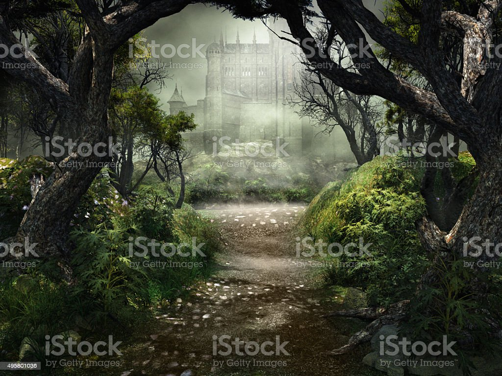 Passage to mysterious castle stock photo