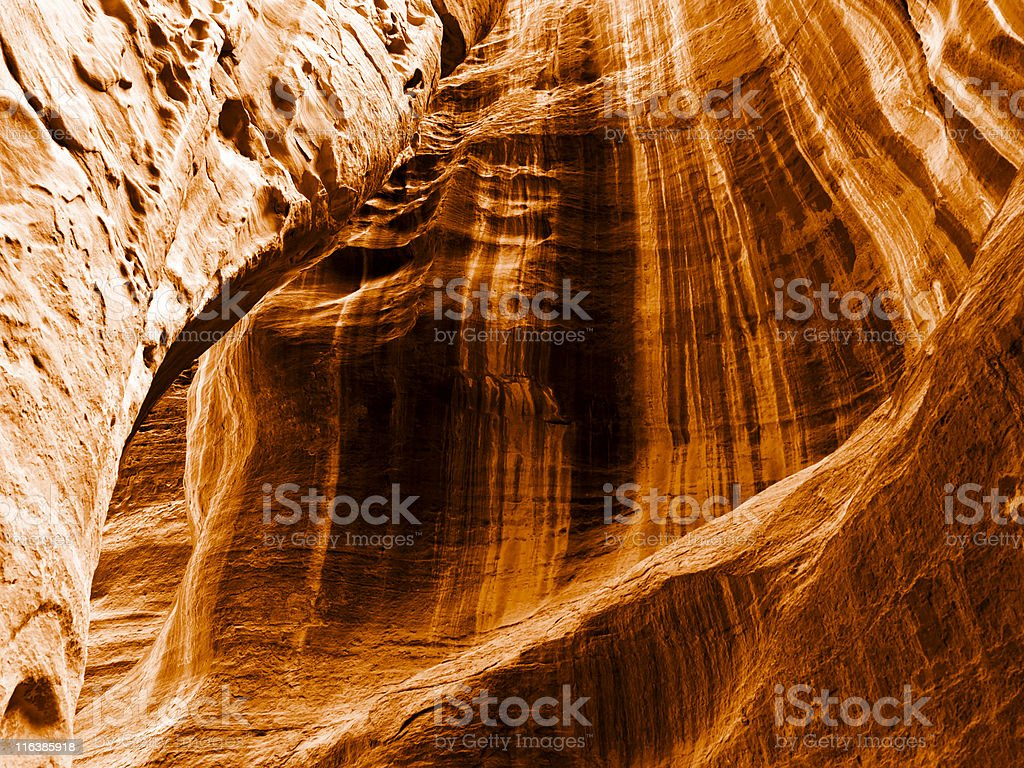 Passage walls in Petra, Jordan stock photo