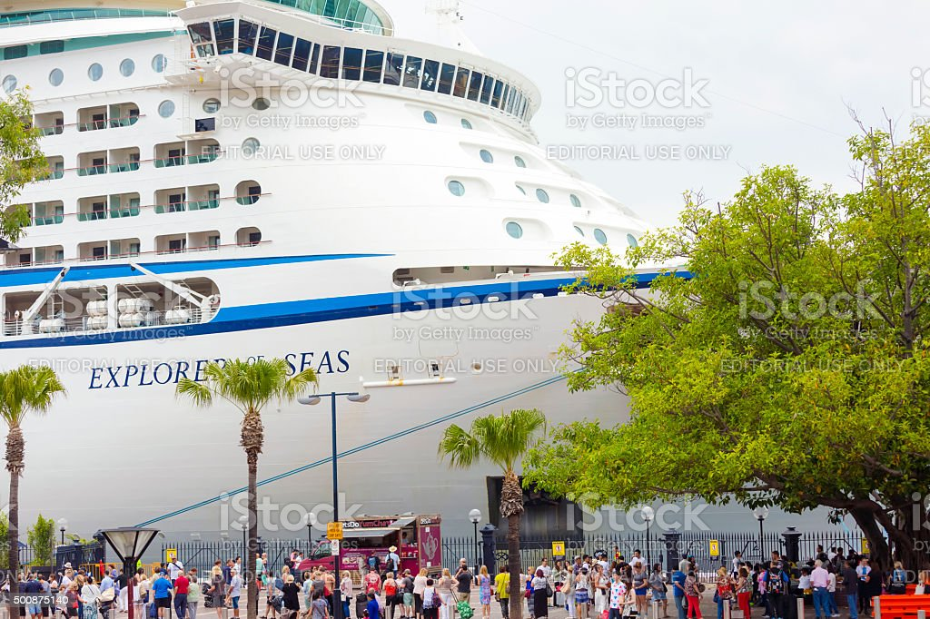 Passangers waiting to board for cruise ship at Circural Quay stock photo