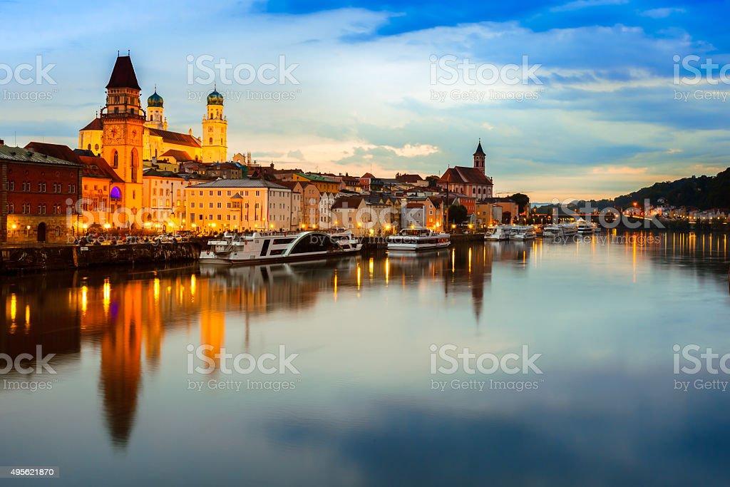Passau at sunset, Germany stock photo