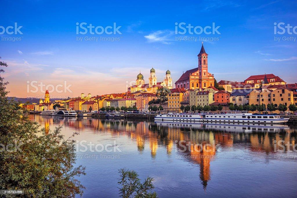 Passau at sunset stock photo