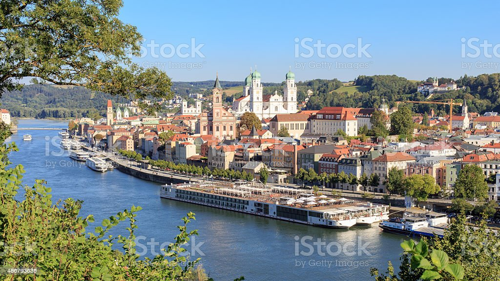 Passau at the Danube River stock photo