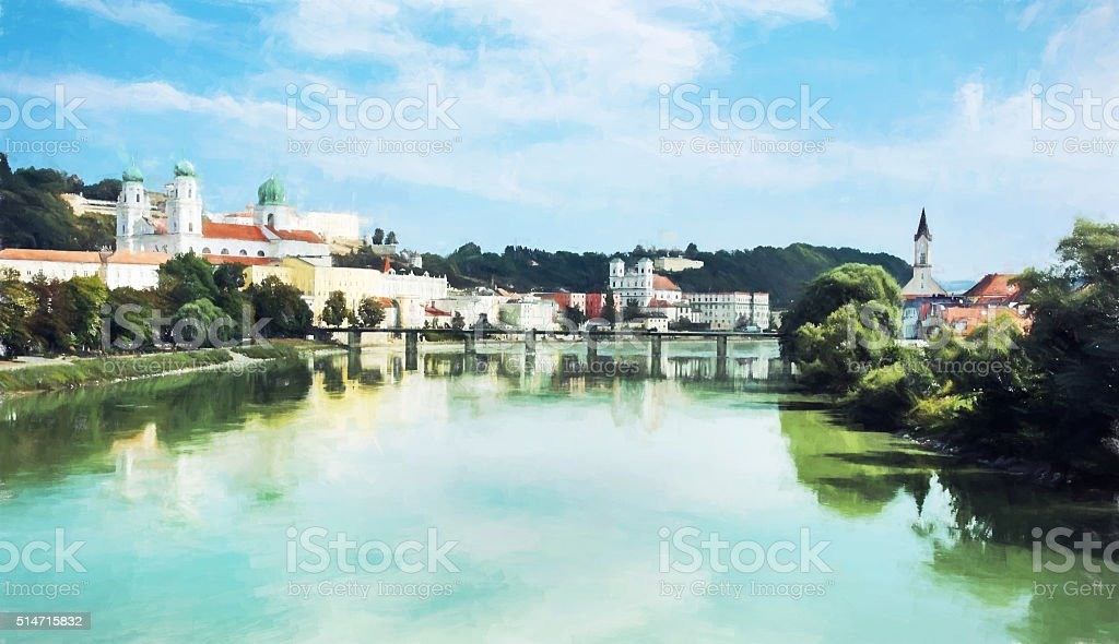 Passau, Lower Bavaria, Germany, illustration with colored pencil stock photo