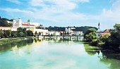 Passau, Lower Bavaria, Germany, illustration with colored pencil
