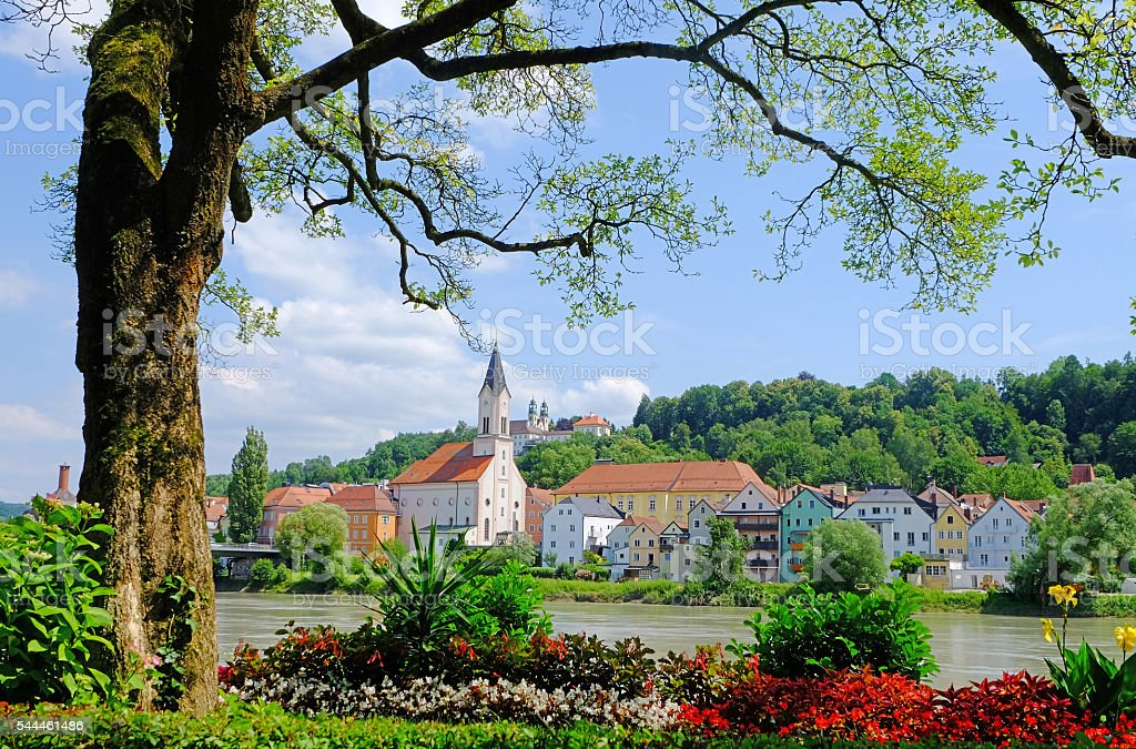 Passau / View to River Inn and Innstadt - Germany stock photo