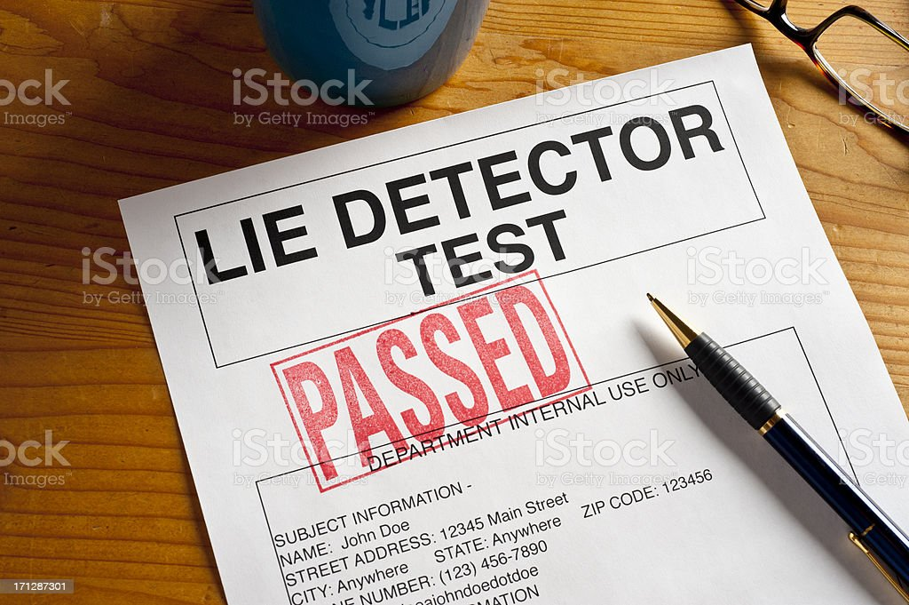 Passed Lie Detector Test. stock photo