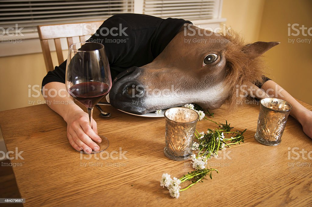 Passed out after dinner stock photo